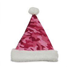 Pink Camouflage Print Santa Hat with Faux Fur